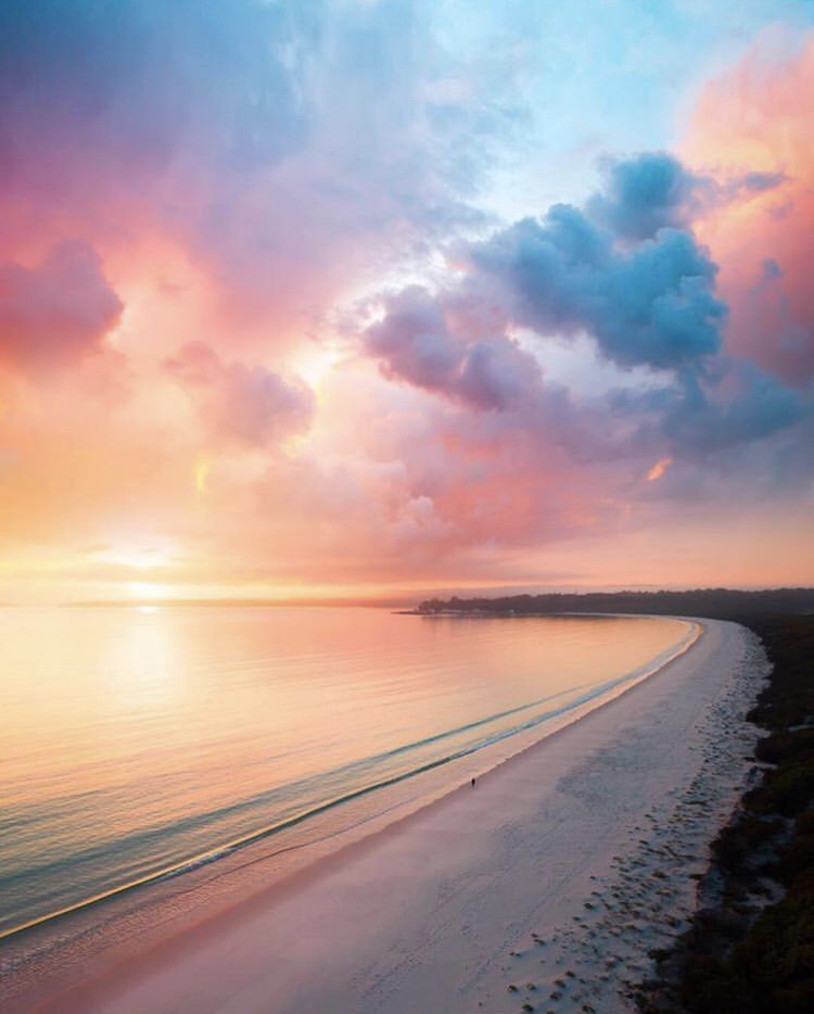 Australian beach sunset Luna fondos de pantalla, Fondo