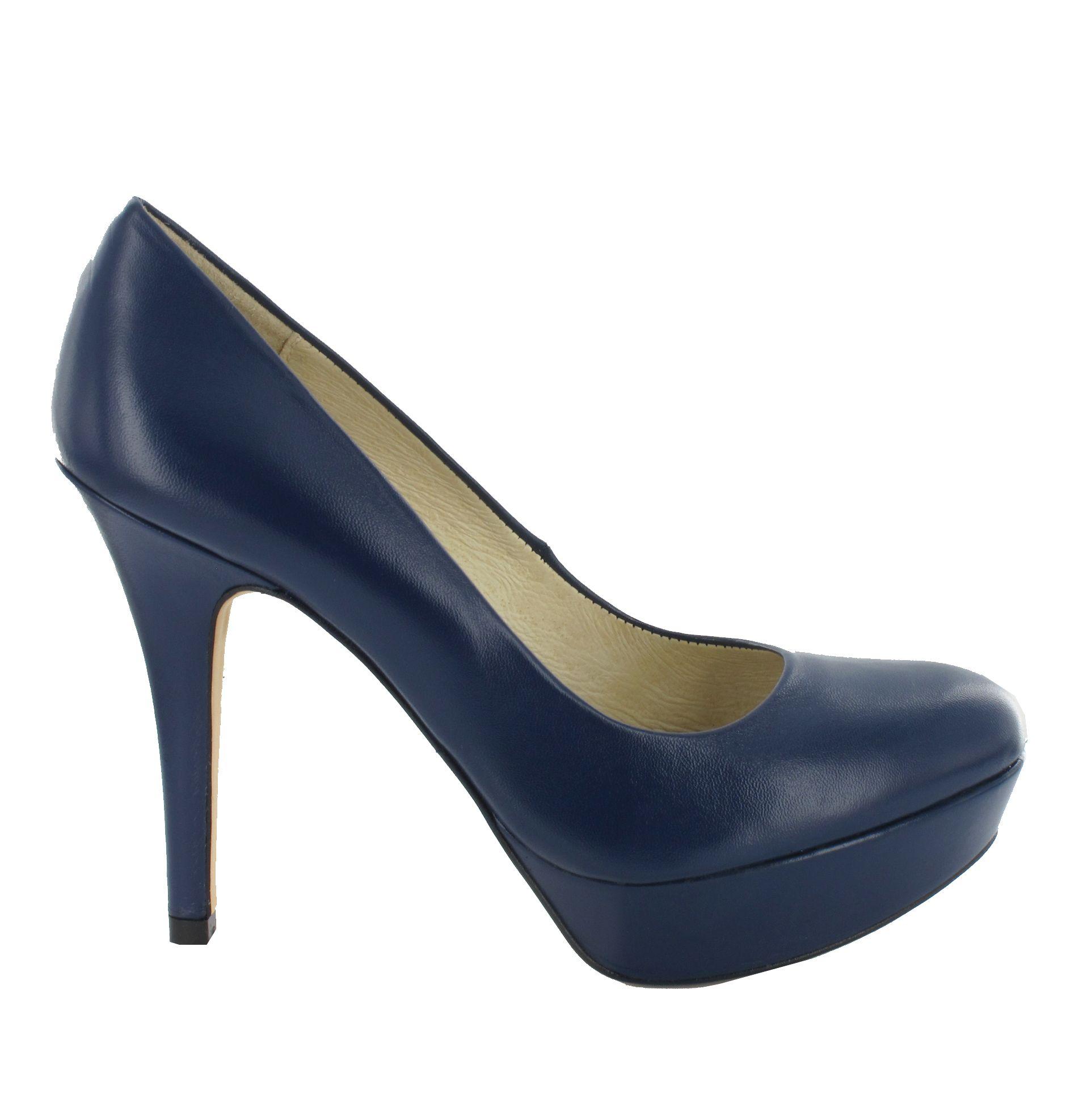 Zapato Salón de piel con plataforma en Azul Marino. Un modelo básico y cómodo. Ref.6245 //Leather platform high heel in Navy Blue. A basic and comfortable model. Ref.6245