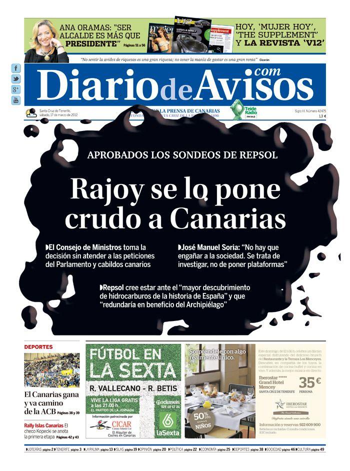 """Nuestra portada del 17 de marzo: """"Rajoy se lo pone crudo a Canarias"""""""