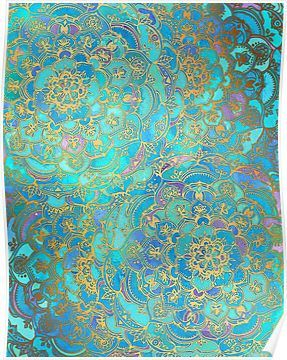 'Sapphire & Jade Stained Glass Mandalas' Poster by micklyn