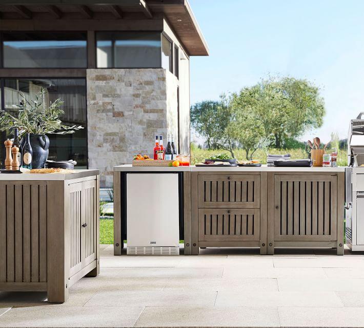 Abbott Outdoor Kitchen Concrete Fsc Acacia Ultimate 3 Piece Set Gray Wash In 2020 Outdoor Kitchen Pottery Barn Outdoor Outdoor Bbq Kitchen