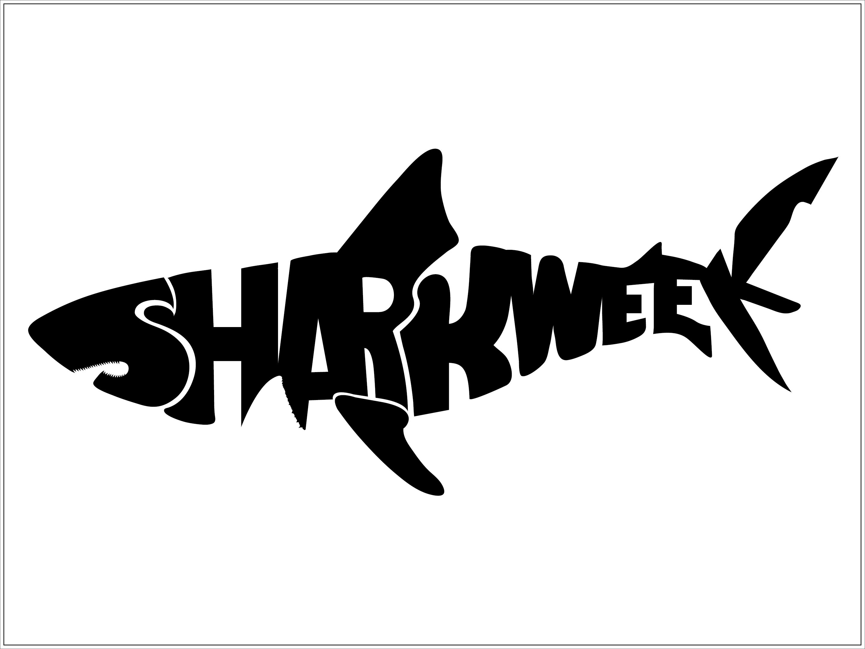 """Shark Week"" Typography Shark silhouette, Shark week"