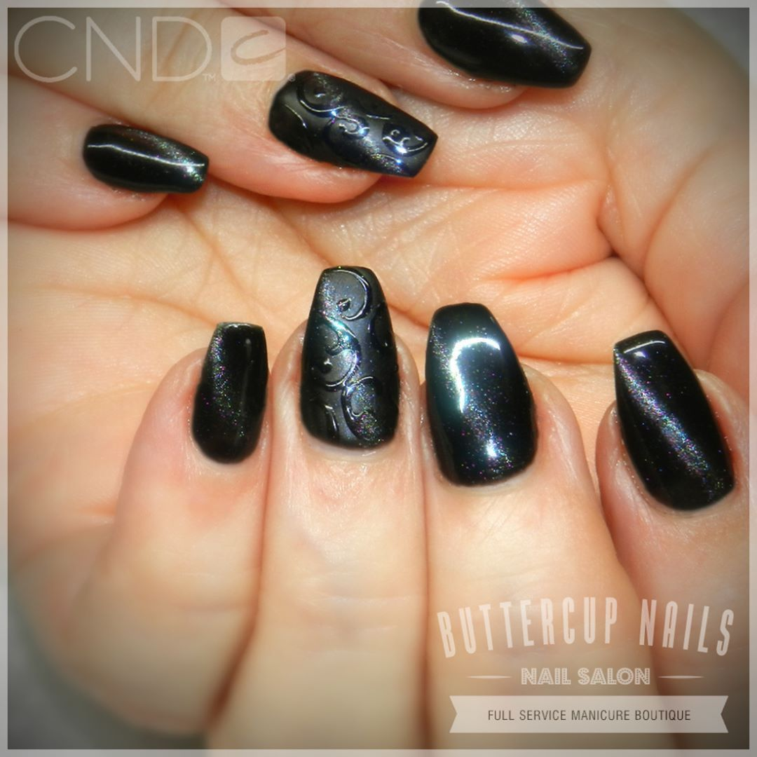 CND Shellac in Black Pool with cateye polish and