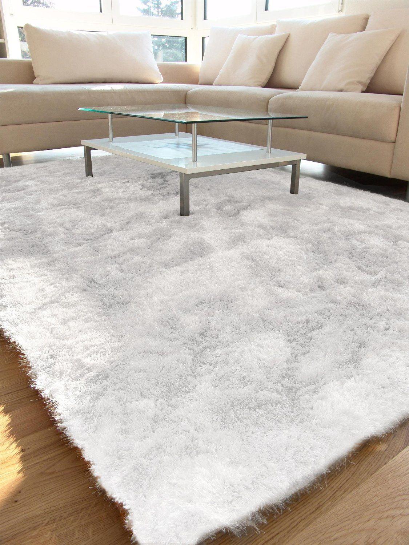 Amazon.de: Benuta Teppiche: Hochflor Teppich Whisper Quadratisch Weiß  200x200 Cm   Schadstofffrei