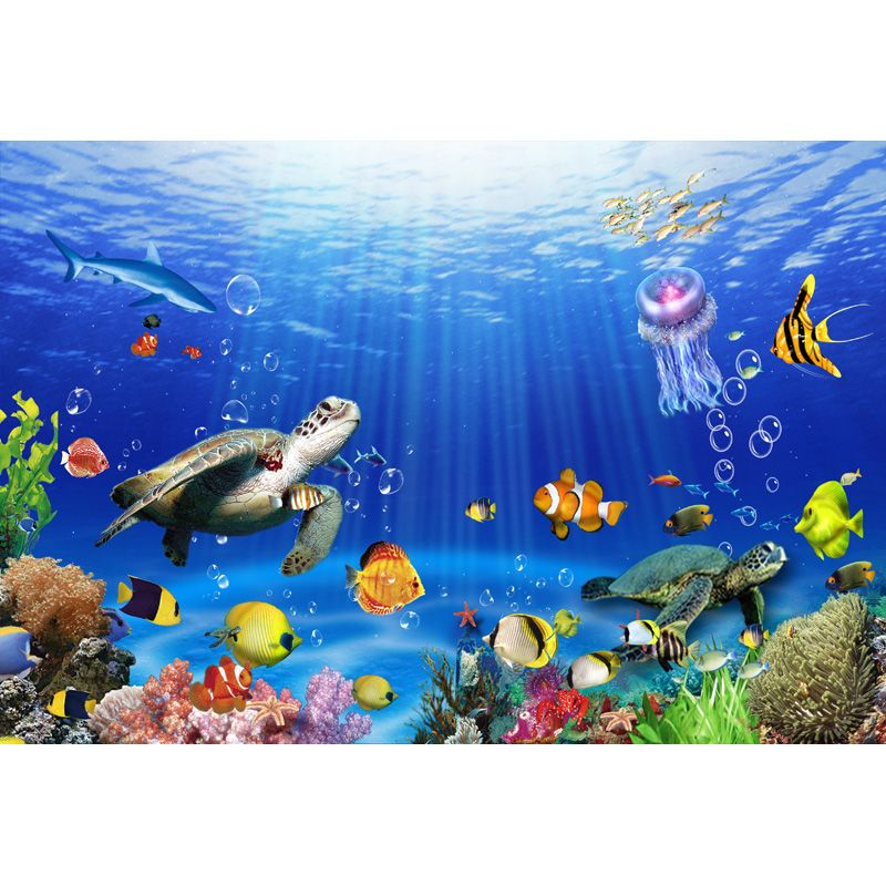 8x12 FT Pearls Vinyl Photography Backdrop,Colorful Underwater Animals Cartoon Style Tropical Sea Shells and Coral Reefs Background for Party Home Decor Outdoorsy Theme Shoot Props