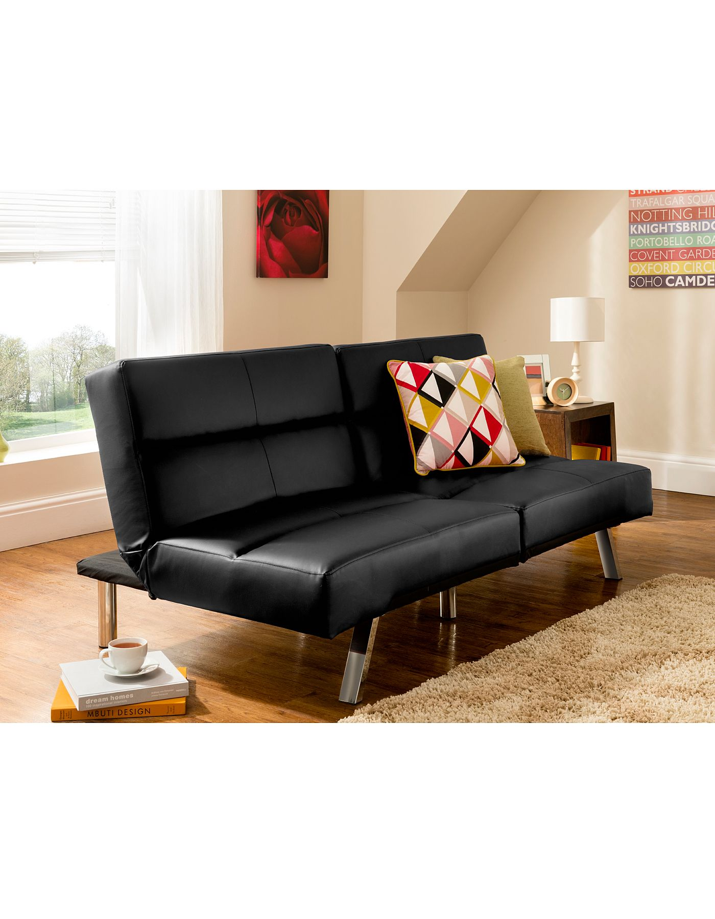 Tenby Click Clack Sofabed In Black Sofabeds Asda Direct