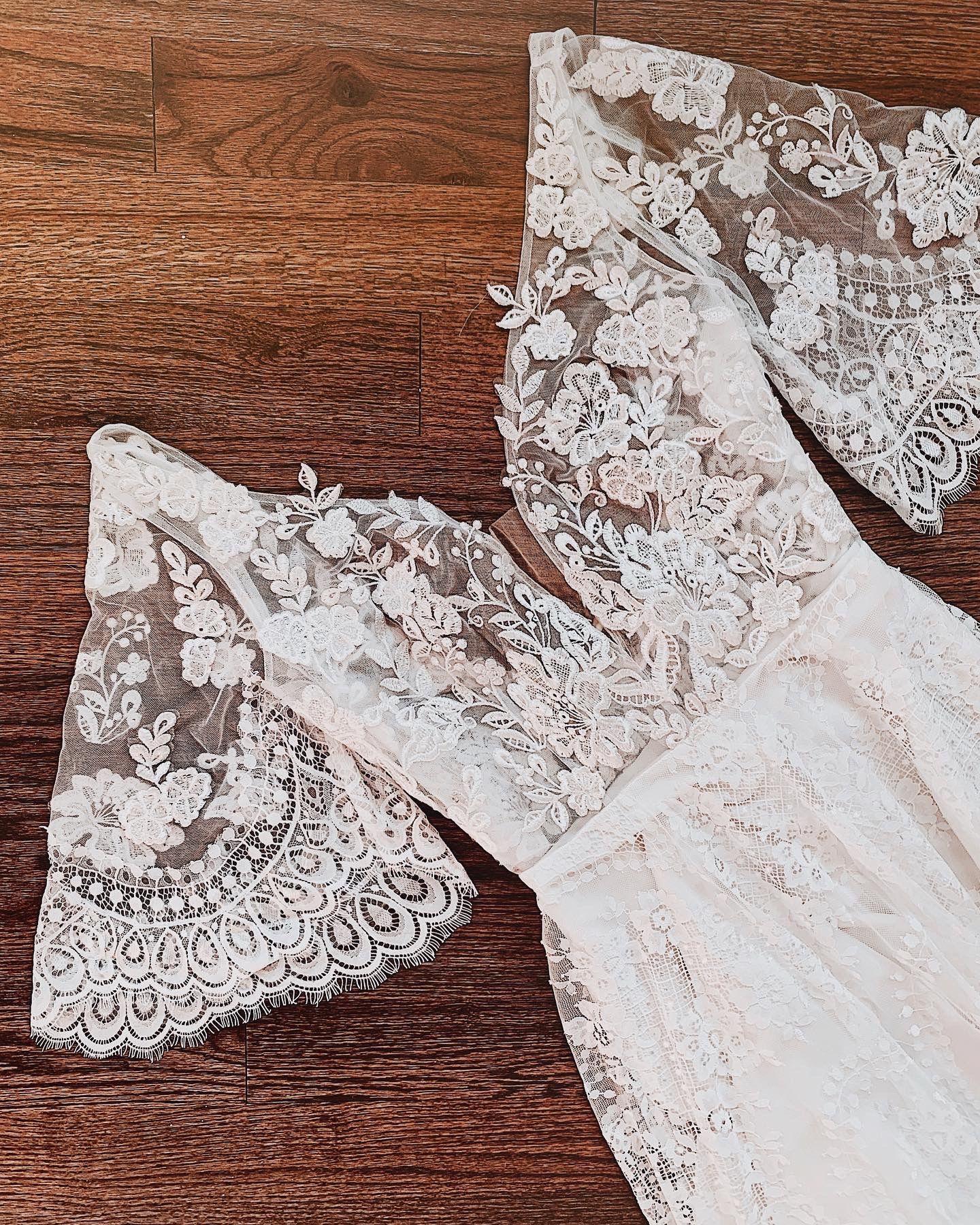 Bohemian Wedding Dress With Detachable Lace Sleeves | Flora & Lane