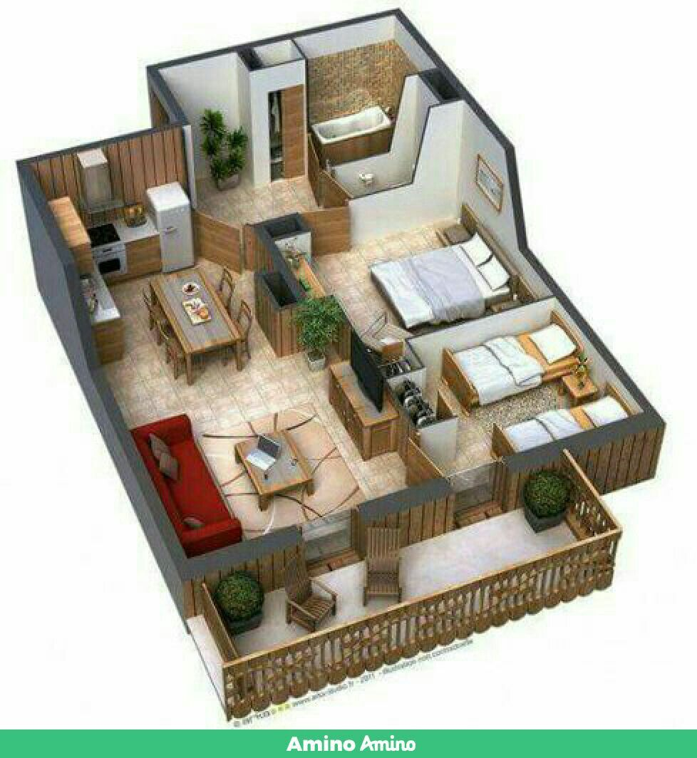 Two bedroom house image by JJ JJ on build   3d house plans ...
