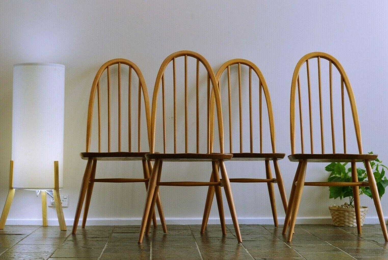Mid Century 4 X Solid Elm Ercol Quaker Dining Chairs Retro Vintage