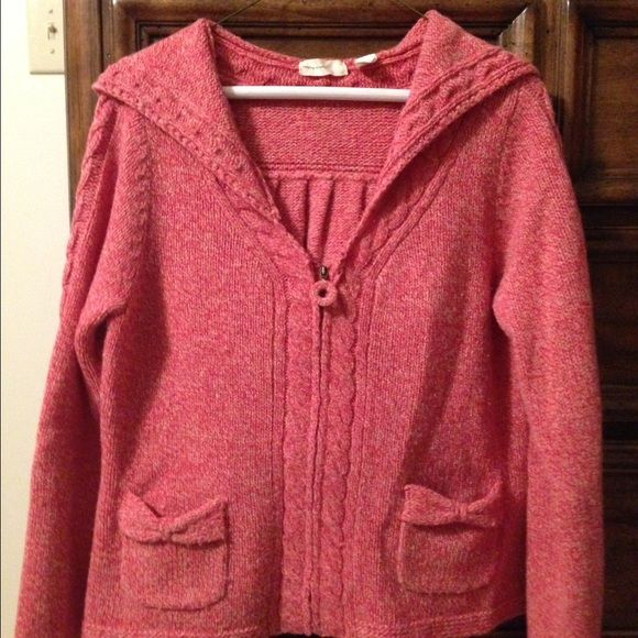 Sleeping on Snow hooded zip sweater. Size L, wool/nylon blend, beautiful coral color. Knit bow details on the front pockets. Front zipper with sweater knit pull. Anthropologie Sweaters Cardigans