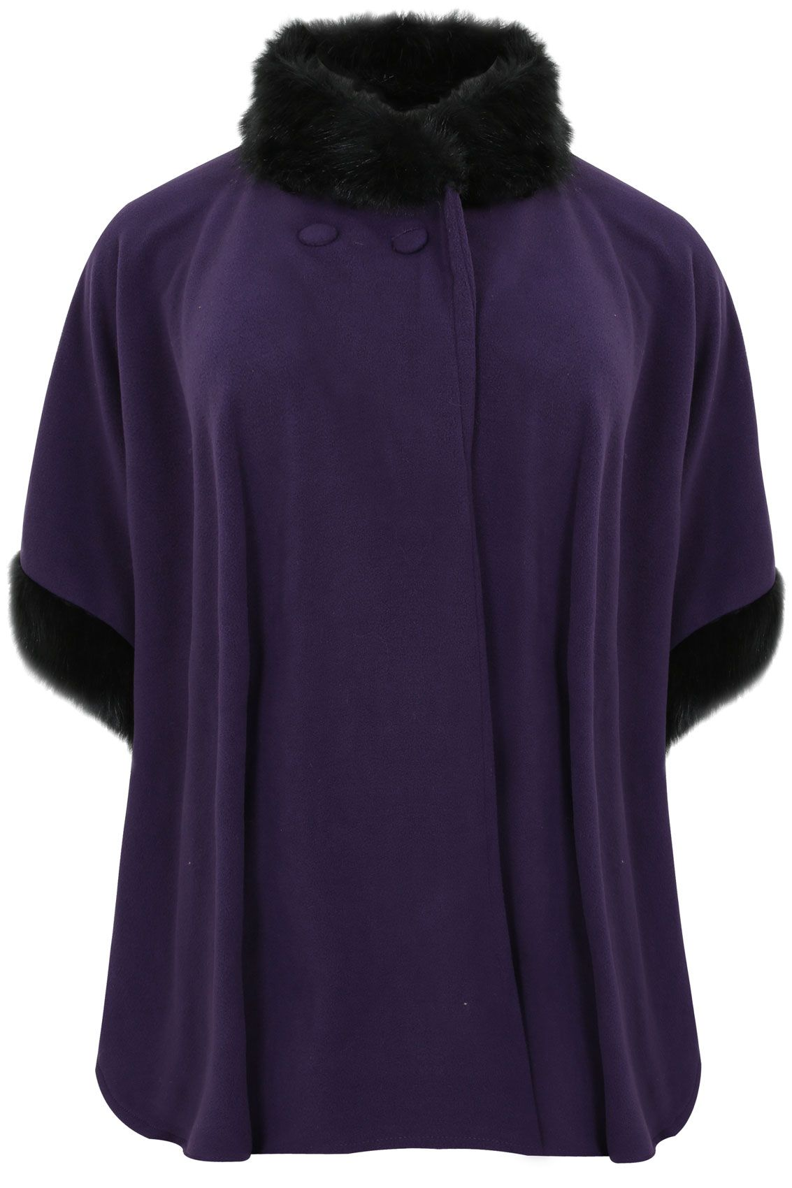 Purple fleece wrap with faux fur neck and cuff trims yours