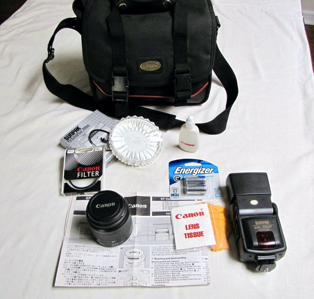 Canon Ef 52mm Lens Zoom 35 80mm Sunpak 355af Thyristor Camera Bag Filter Lot Ebay In 2021 Camera Bag Vintage Camera Camera