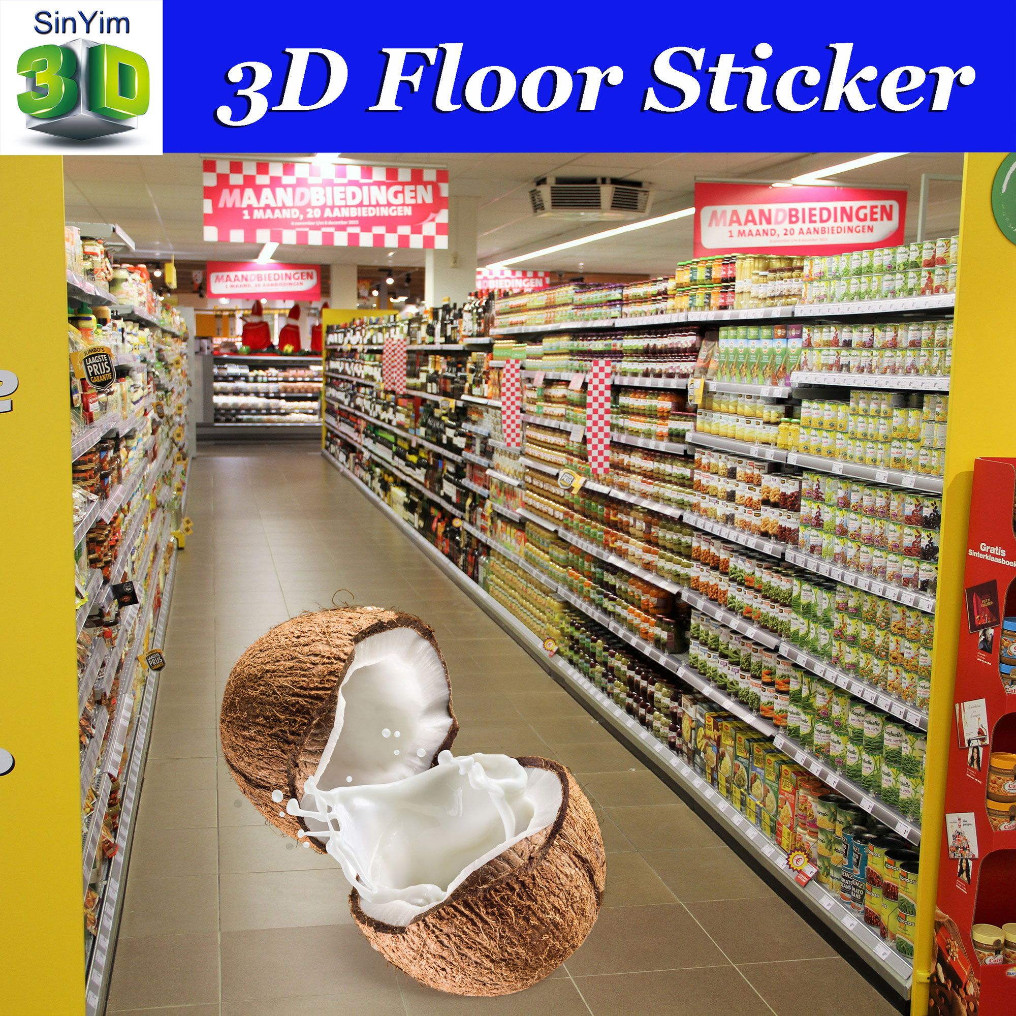 Custom 3d floor stickers 3d floor decals 3d floor graphics for high impact in store advertising fruit juice promotion