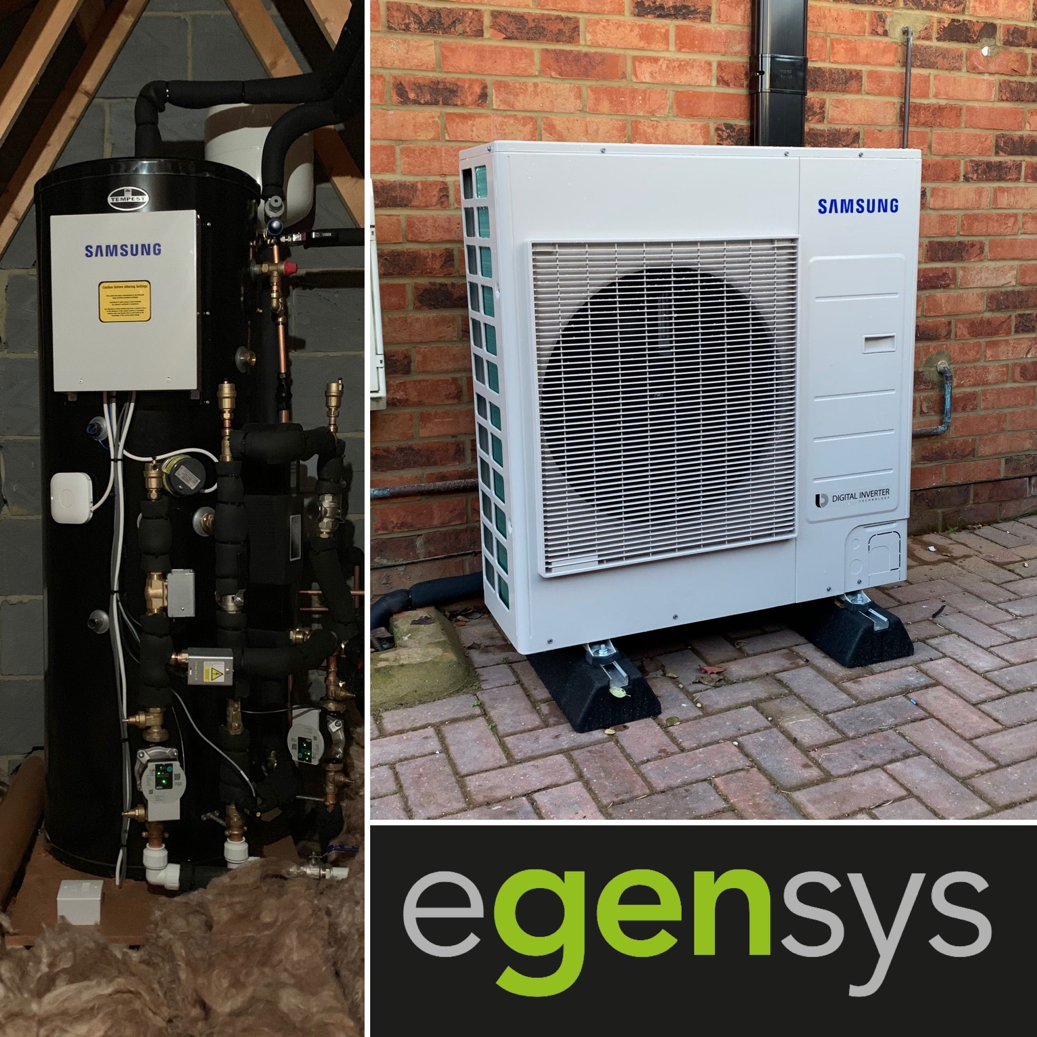 9kW Samsung AE090JXYDEH Air Source Heat Pump with 200l pre