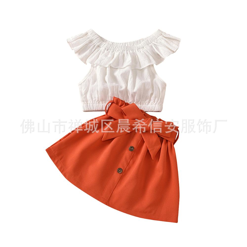 2020亚马逊中小童女童夏季新款白色一字肩上衣 纽扣半身裙套装 阿里巴巴 Outfit Sets Kids Suits Girl Outfits