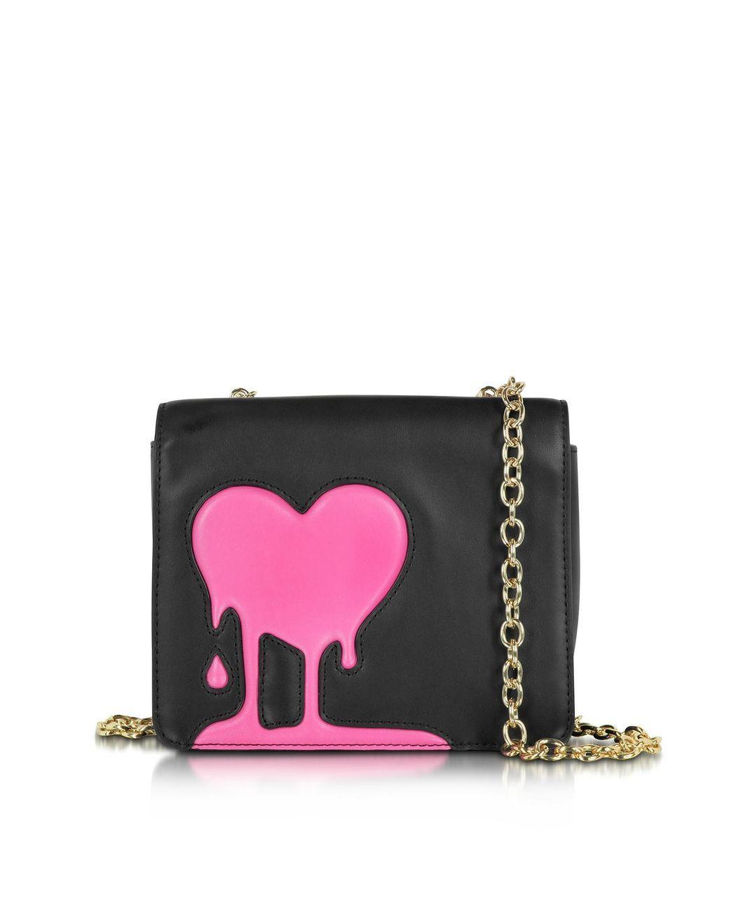 d472640fba0fb Love Moschino | Melting Love Black & Pink Eco Leather Crossbody Bag | Lyst