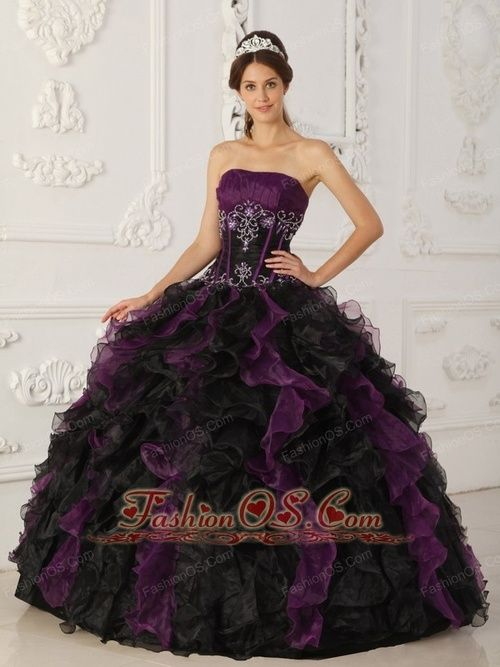 black and purple dress | Brand-new-purple-and-black-quinceanera ...