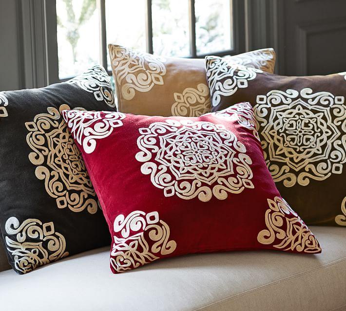 Velvet Embroidered Medallion Pillow Cover Living Room Pinterest Extraordinary Medallion Pillow Covers