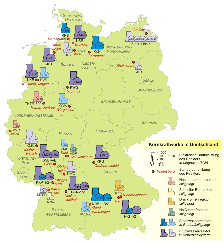 Und So Verteilen Sich Die Kernkraftwerke Des Landes Landkarte