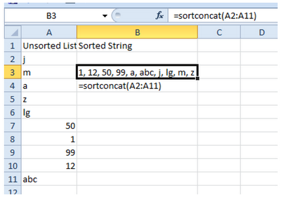Learn Microsoft Excel: Sort and Concatenate Function making with VBA code in Excel 2010