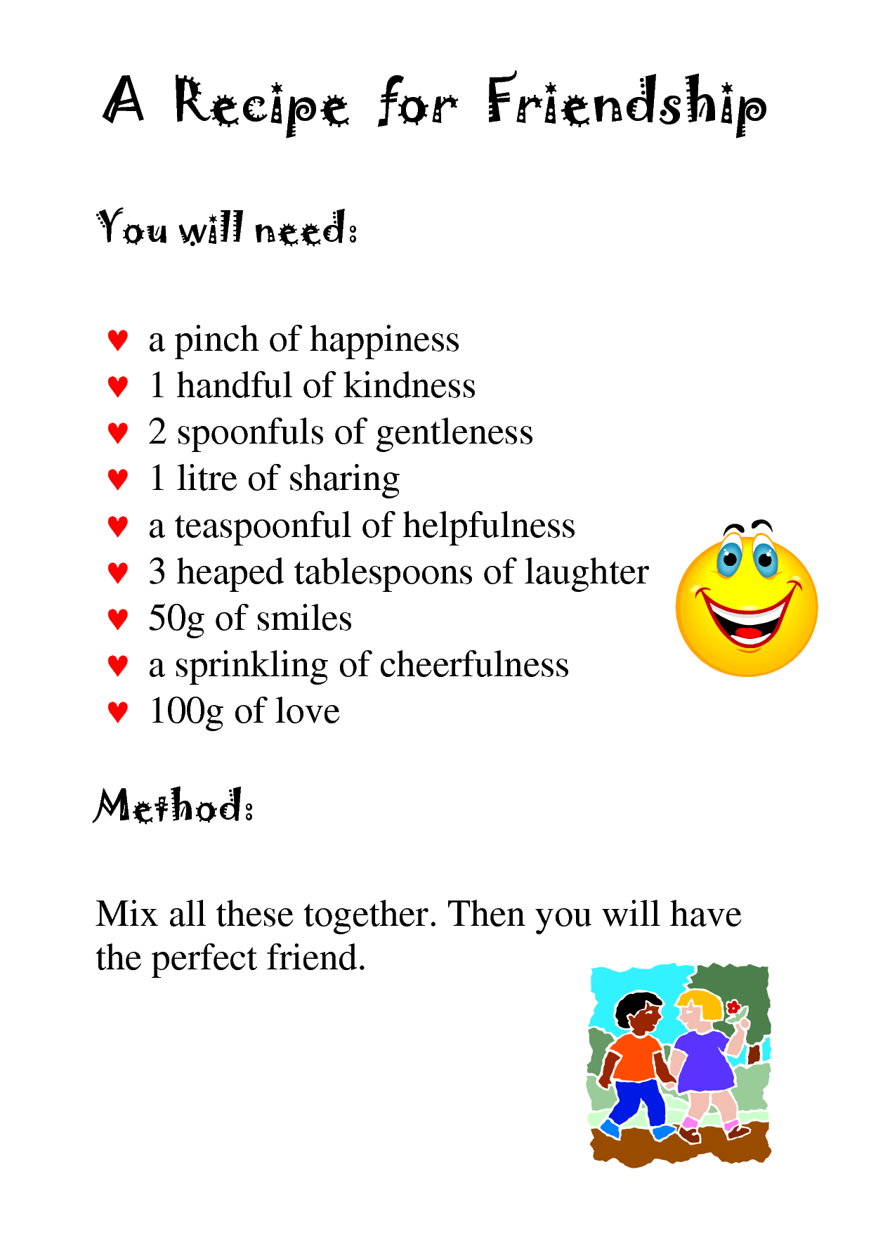 Recipe For Friendshipall Ingredients Needed 3