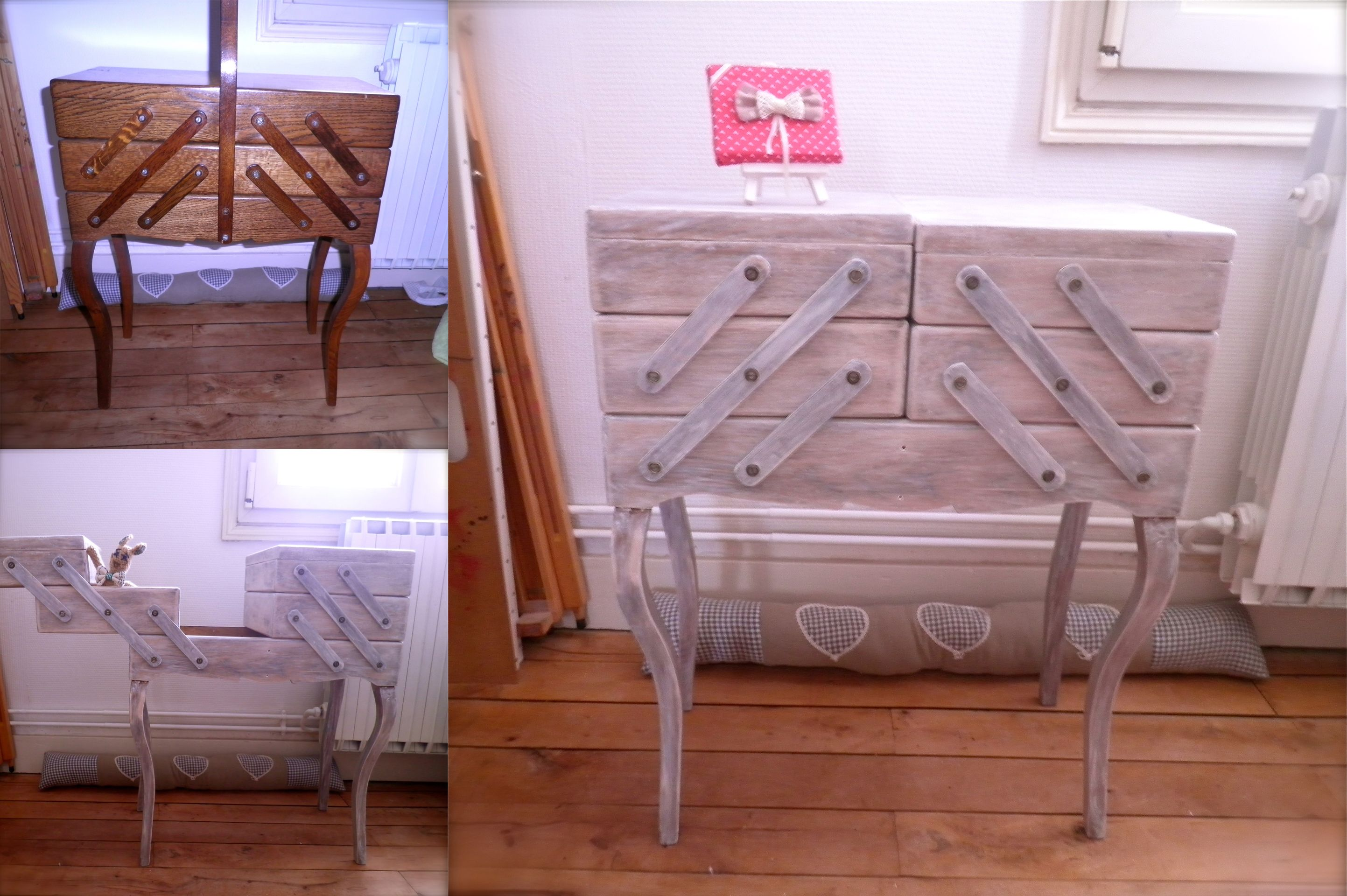Rafraîchir un vieux meuble de couture DIY Recyclage meuble ...