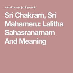 sri chakram, sri mahameru: lalitha sahasranamam and meaning, Einladungen