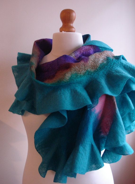teal felt silk shawl, nuno felt wedding shawl, ruffled, felt, shawl, wrap, evening wrap, hand dyed silk, teal, pink, purple, HandmadeGallery