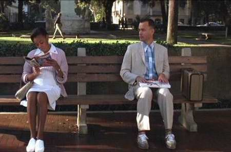 Forrest Gump Telling His Story On The Savannah Park Bench And