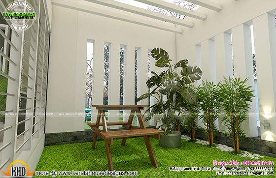All In One House Elevation Floor Plan And Interiors Kerala House Design Courtyard Design House Front Design