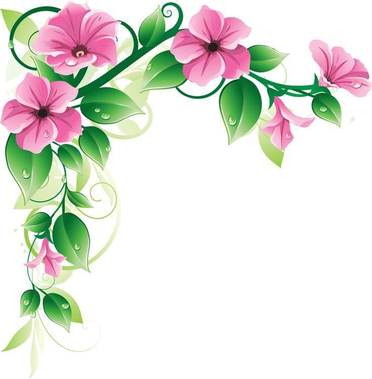 Pink Floral Flower Borders Flowers Border Design Clipart