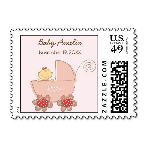 fatfatin Pink Baby Girl and Pram Custom Stamps