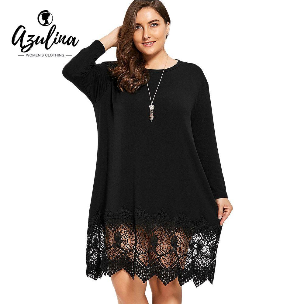 c95730c6db74f Plus Size Lace Crochet Trim Swing T-Shirt Dress Women Casual O Neck Drop  Shoulder Long Sleeves Hollow Out Ladies Dresses