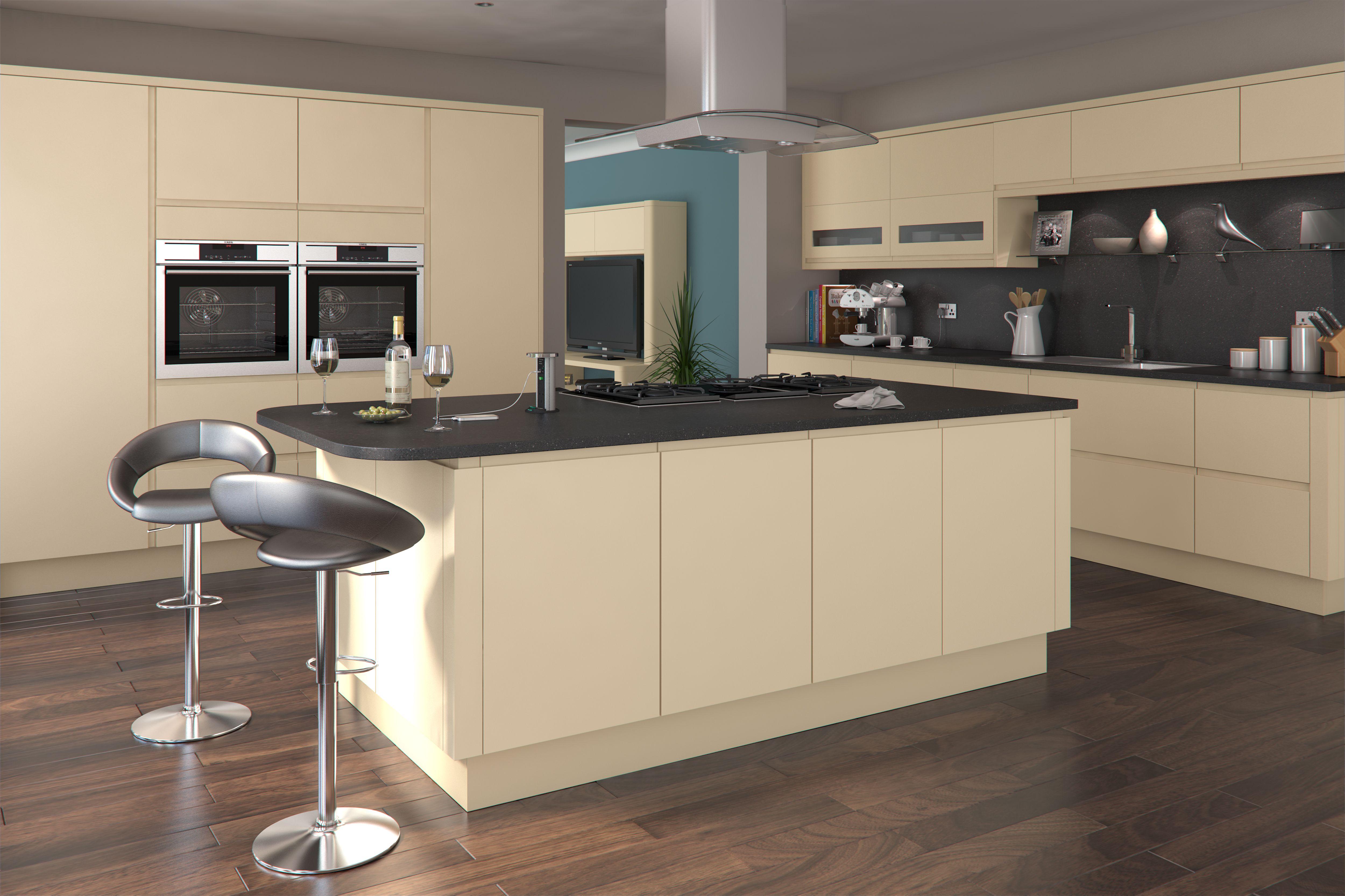 white gloss kitchen grey worktop grey floor - Google Search ...