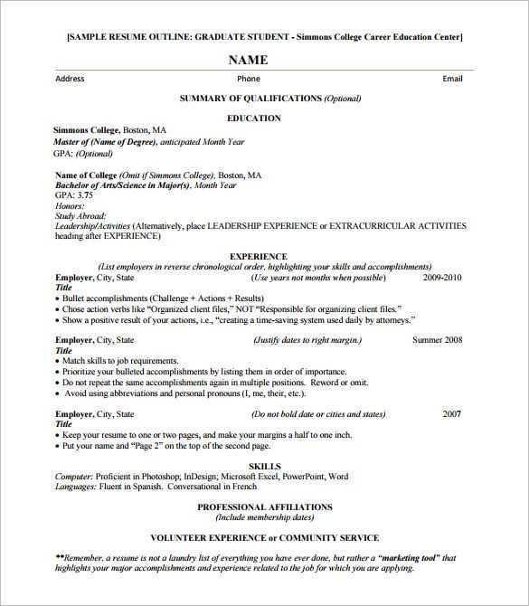 Resume Format Outline Resume Outline Basic Resume Resume Format Examples