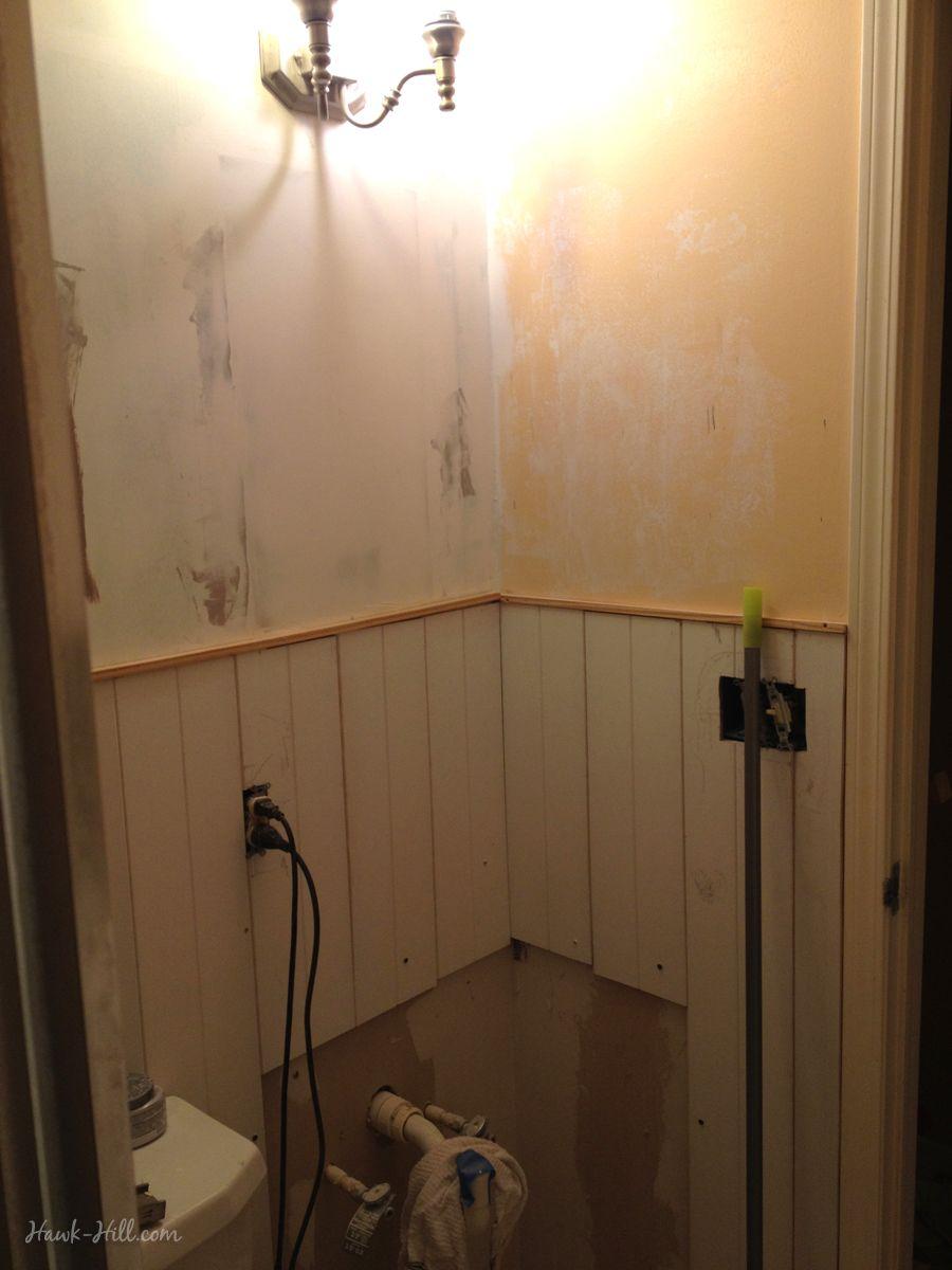 300 Bathroom Renovation Featuring Paneling Over Existing Tile Installing Shiplap Budget Bathroom Remodel Cheap Bathroom Remodel