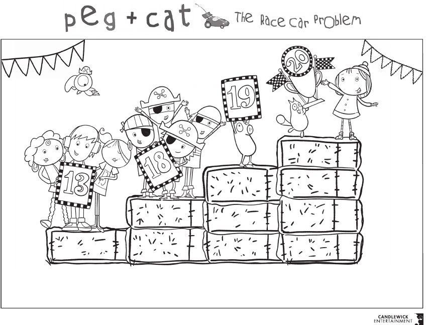 Peg Cat The Race Car Problem Coloring Sheet Cat Colors Coloring Pages Coloring Sheets