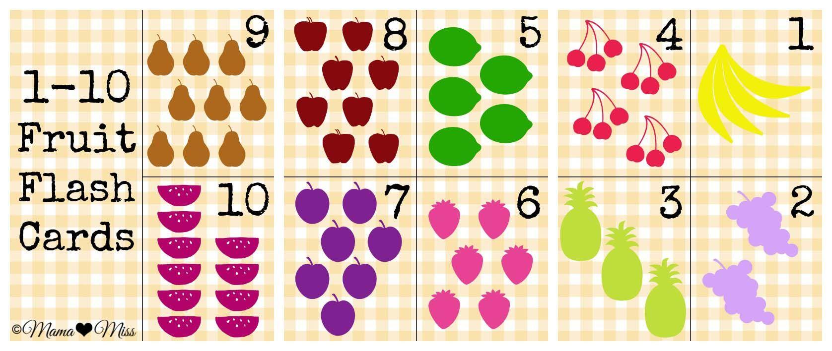 1 10 free fruit flash cards free printable numbers printable flashcards free printables