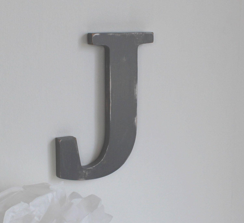 wooden letter J light grey custom wooden letter