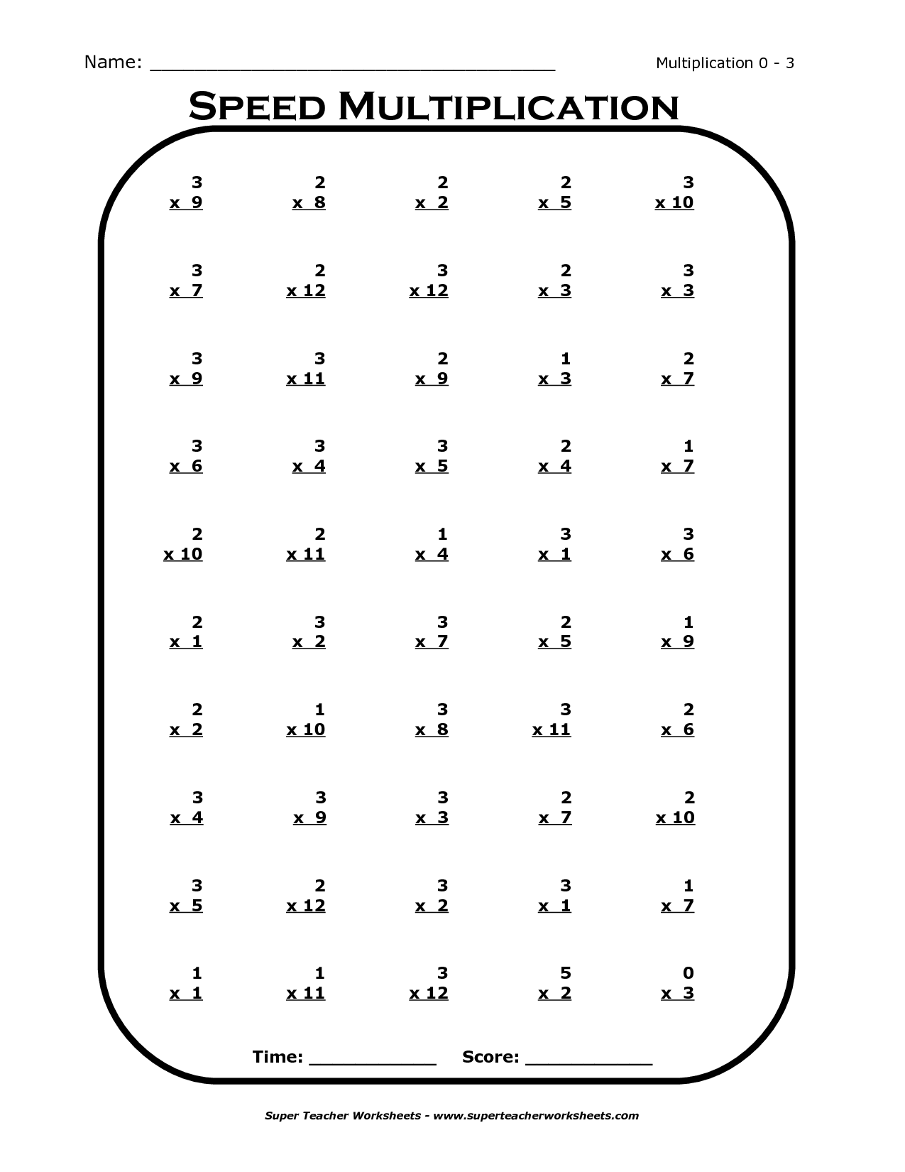 Times Tables Worksheets 3rd Grade – Multiplication Facts Test Worksheet
