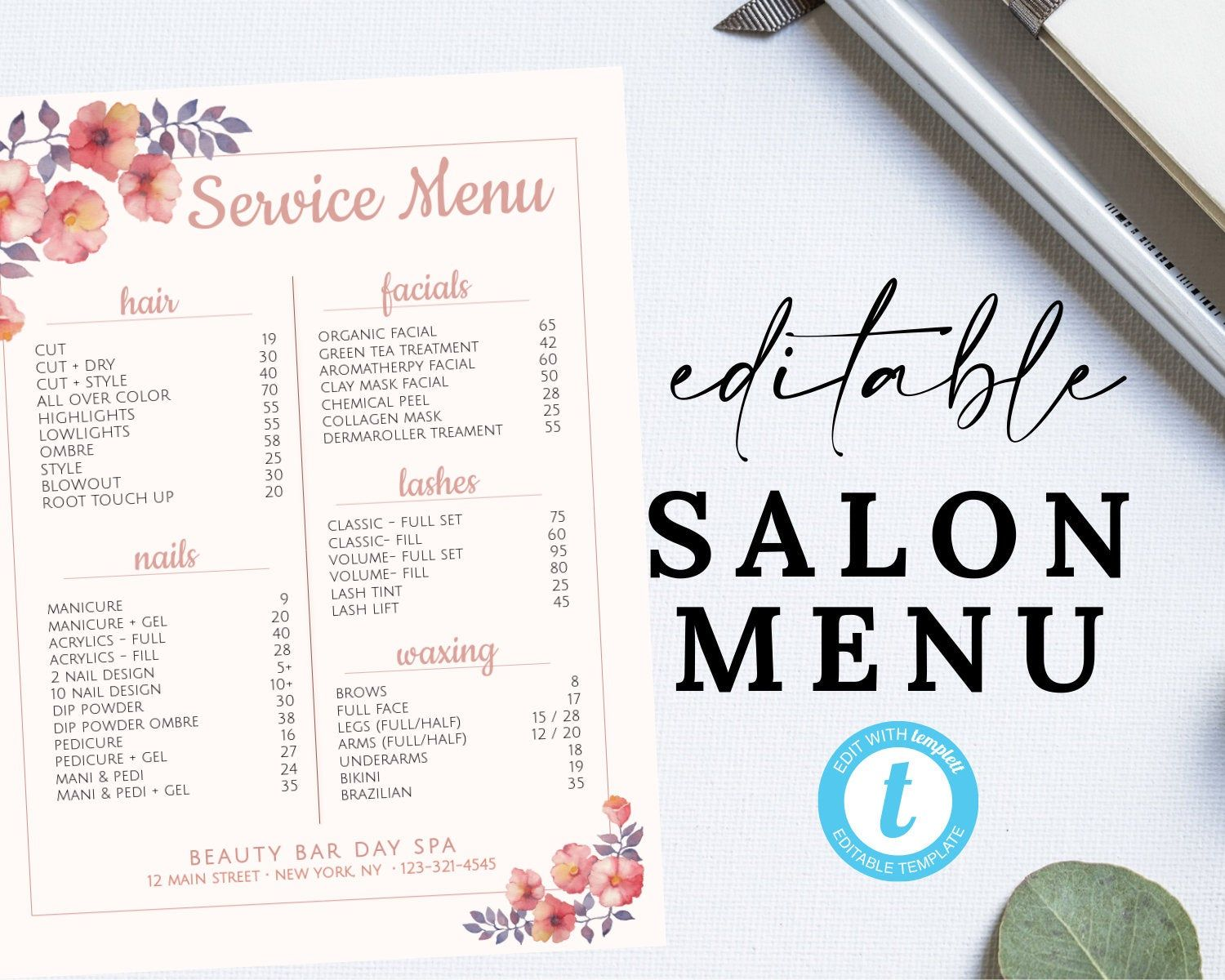 Editable Salon Menu Printable Price List, Template for