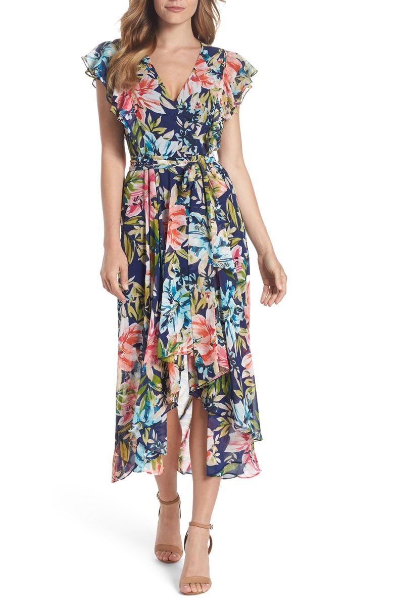 9eabf895d216f Free shipping and returns on Eliza J Ruffle Floral Faux Wrap High ...