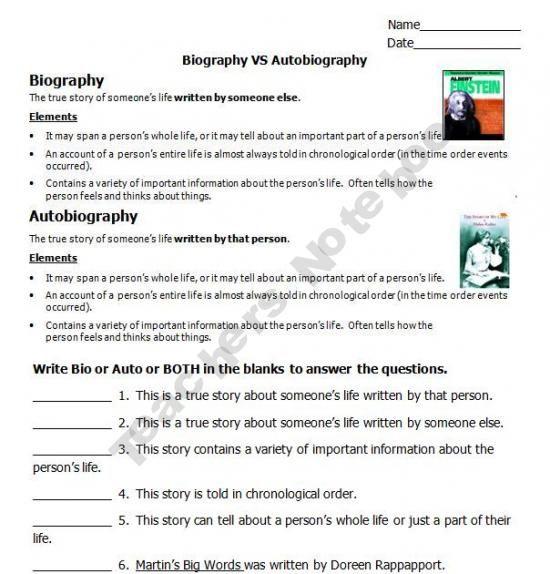 Biography Vs Autobiography  Classroom Stuff