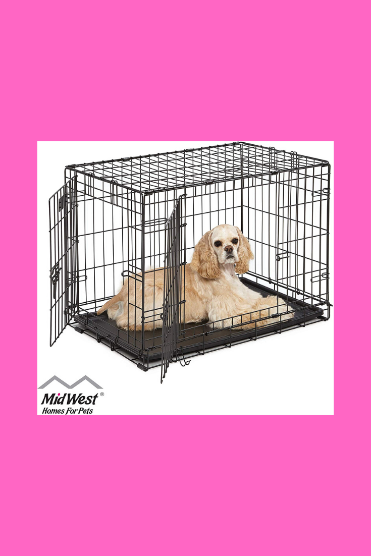 Double Door Folding Dog Crate Your Dog S Home While You Re Away From Home Durable Design Creates A Safe Place F With Images Dog Crate Dog Breeds Medium Folding Dog Crate