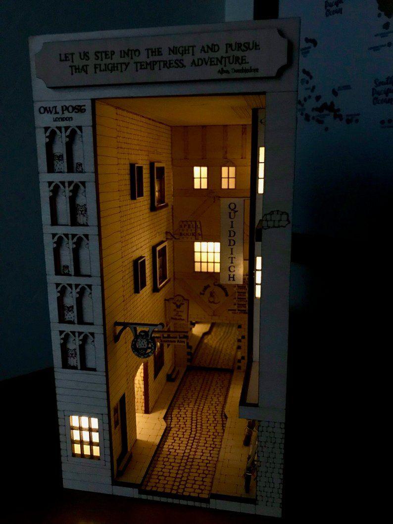 Harry Potter Diagon Alley Inspired Bookshelf Art Diy Kit Etsy