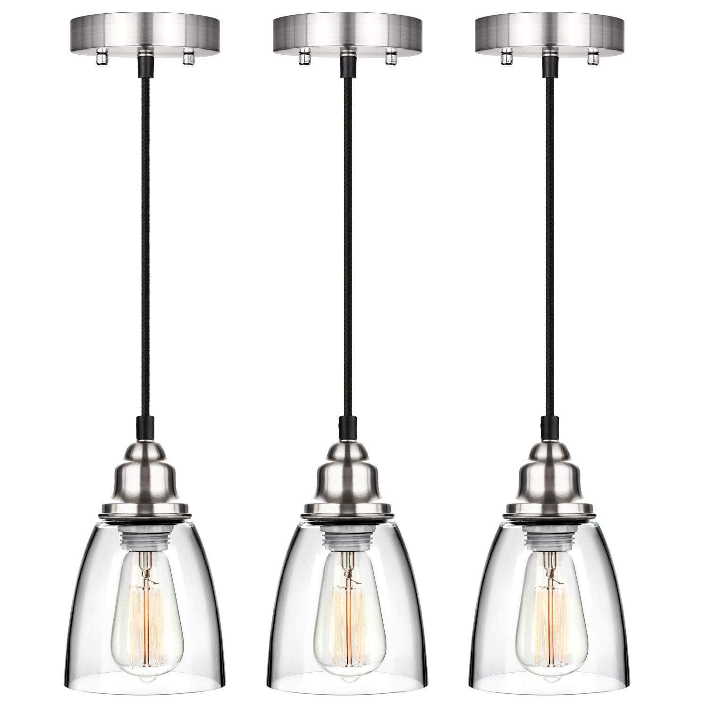 Industrial Mini Pendant Lighting Clear Glass Shade Hanging Light Fixture Brushed Nickel Adjustable Pendant Light Fixtures Kitchen Pendants Pendant Light Set