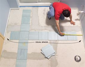 Install a Ceramic Tile Floor in the Bathroom | Backsplash ... on different ways to lay tile, installing porcelain floor tile, laying tile,