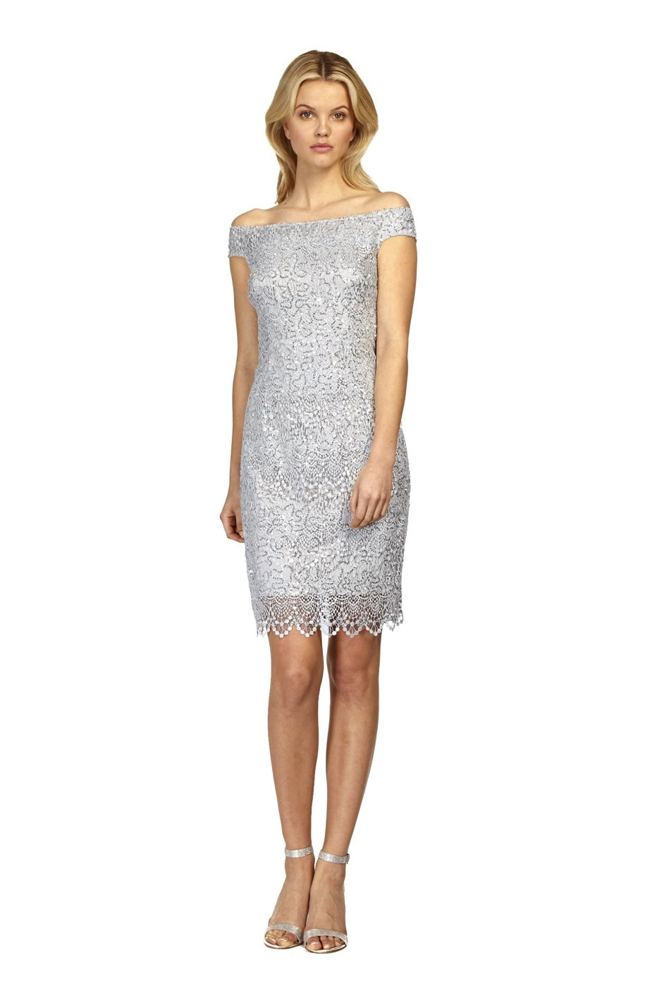 Lace Shift Cocktail Sheath Dress Silver from Kay Unger | The Wedding ...