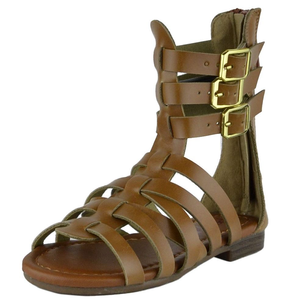 fdc092e5ee3f76 Girls Flat Sandals Mid Calf Strappy Buckles Open Toe Gladiators Tan  footwear shoes cute summer outfit shopping