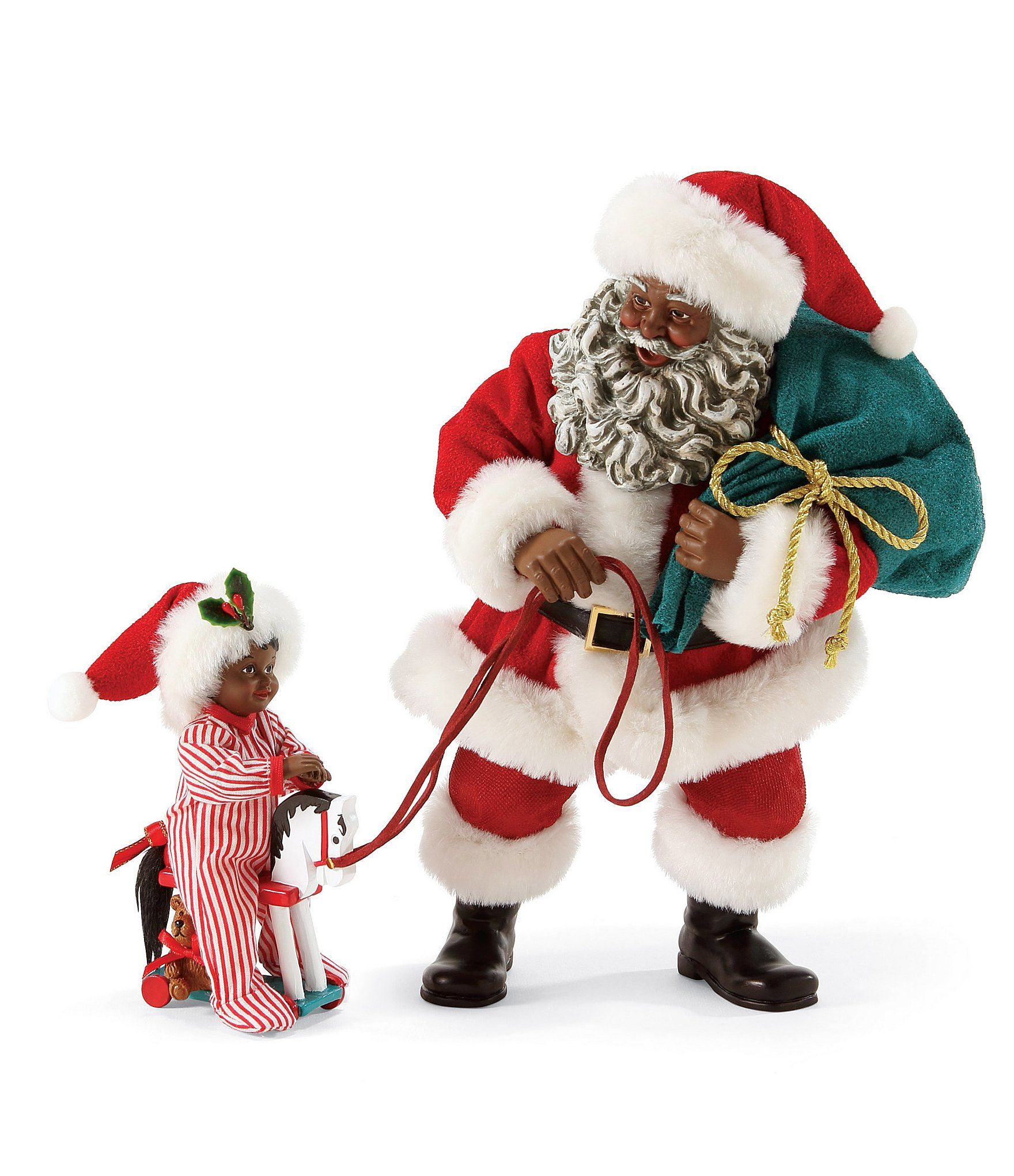 Possible Dreams Giddy Up African American Santa Figurine